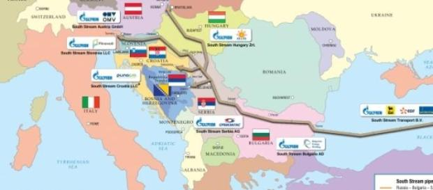 Trajet du South Stream cartographié par Gazprom