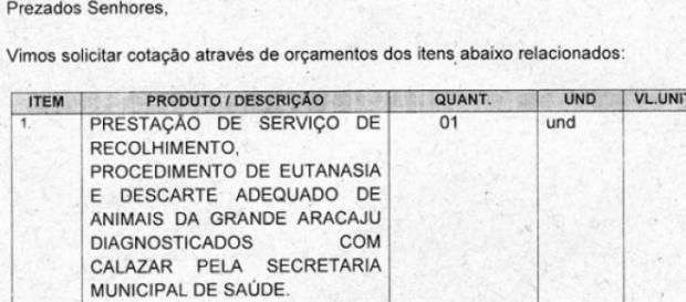 Corpo da licitação da prefeitura de Aracaju