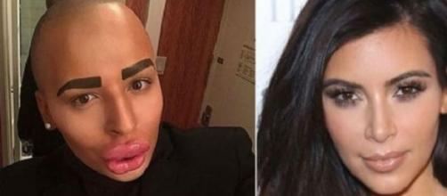 Transformación de un fanático de Kim Kardashian.