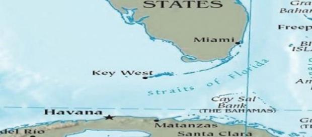 Mapa de Cuba, Florida y la zona de los Cayos.