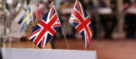United Kingdom flag in a EU meeting