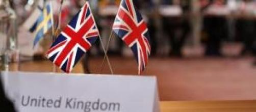 United Kingdom flag during a EU meeting