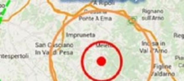 L'epicentro del terremoto in Toscana