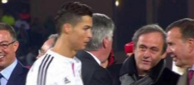 CR7 y Platini no se saludaron. Foto: football.fr