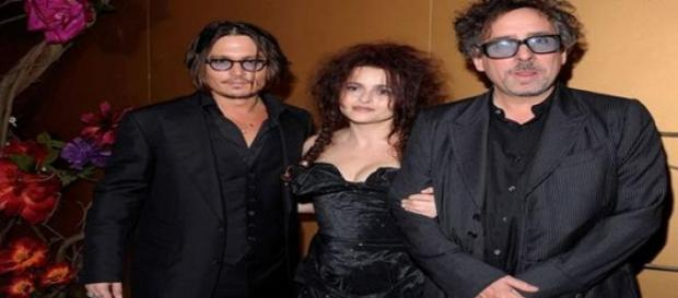 Johnny Depp, Helena Bonham Carter y Tim Burton