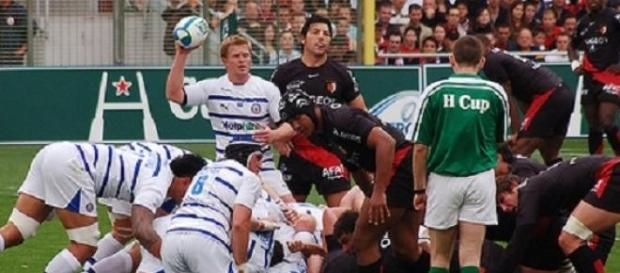 Bath rugby team players in action