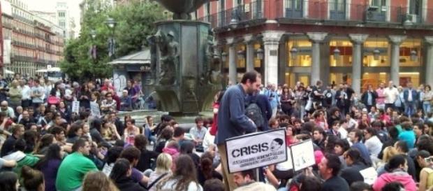 Protesto na Espanha: crise e desemprego