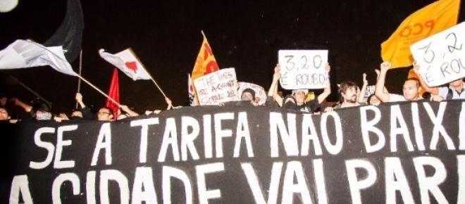 Fotografia feita durante os protestos, relativo ao aumento da passagem de ônibus, de 2013 na cidade de São Paulo.