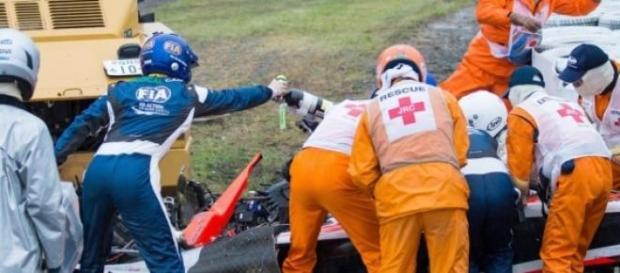 Momento del accidente en el circuito japonés