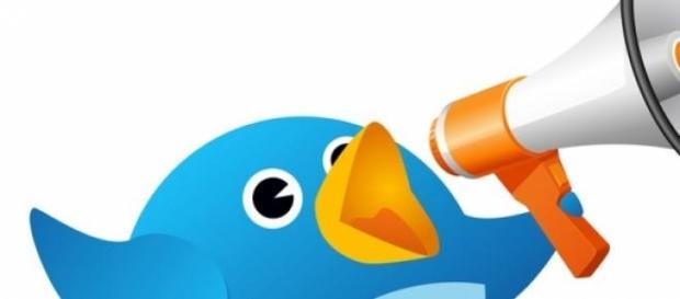 El pájaro de twitter alzando.