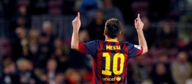 Messi, celebrando un gol.