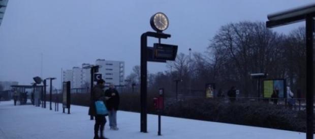 Estação de Hjørring no fim de tarde