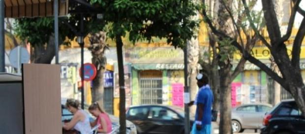 Vendedor de pañuelos (imagen de archivo)