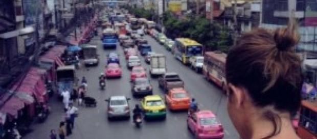 me, Bangkok, traffic, taxi