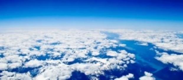 Foto suggestiva scattata dal finestrino dell'aereo