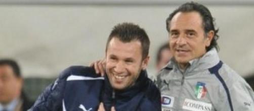 Antonio Cassano con il c.t. Cesare Prandelli