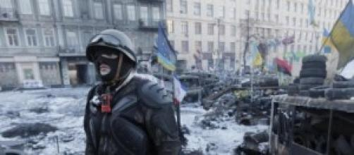 Ucraina immagini passate del conflitto in piazza.