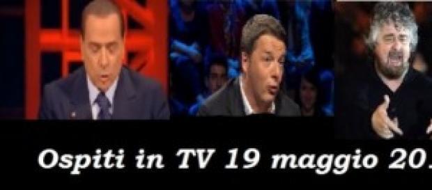 Grillo-Berlusconi-Renzi in tv il 19 maggio 2014