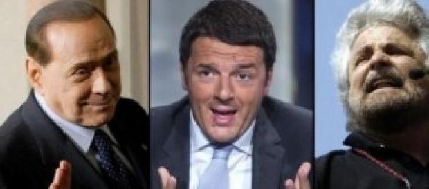 Renzi, Berlusconi e Grillo in TV: gli orari