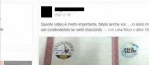 Elettore Cinque Stelle pubblica voto su Facebook