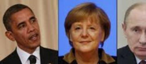 Barack Obama, Angela Merkel, Vladimir Putin