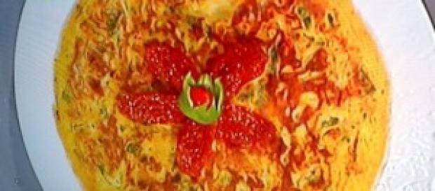 Frittata con friggitelli e pomodori sott'olio