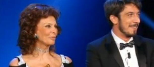 Il conduttore Ruffini e Sophia Loren