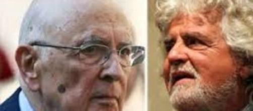 Giorgio Napolitano e Beppe Grillo