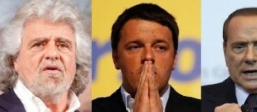 Beppe Grillo, Matteo Renzi, Silvio Berlusconi