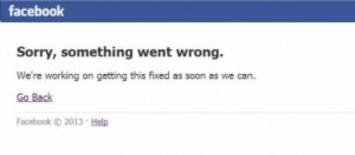 messaggio di errore di Facebook