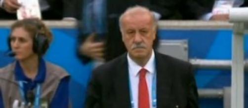 Vicente del Bosque, ayer, no muy contento
