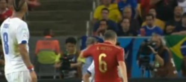La Roja en el partido de ayer.