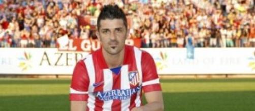 David Villa alla presentazione con l'Atletico