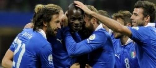 Un'esultanza dei giocatori italiani