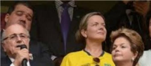 Dilma Rousseff durante a abertura da Copa do Mundo