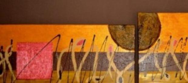 conjunto de dos lienzos en acrilico y base de gues
