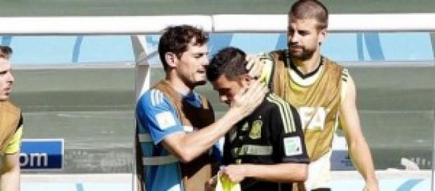 Villa, consolado por sus compañeros. Foto: Marca