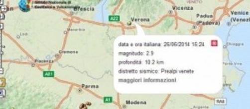 Screenshot dal sito internet dei terremoti