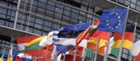 Flags at the European Union Parliament