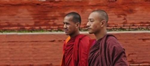 Monjes budistas en Durbar square, kathmandu