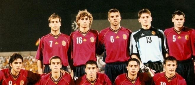 La selección española en un partido del Mundial Sub-20 de Nigeria.