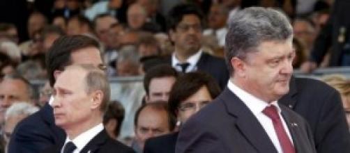 Il presidente Putin e il presidente Porošenko