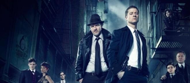 Cartel de la serie <em>Gotham</em>, precuela de Batman de Fox, con Ben McKenzie como protagonista.