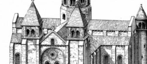 La abacial de Sainte Foy, dibujo de 1887-1901