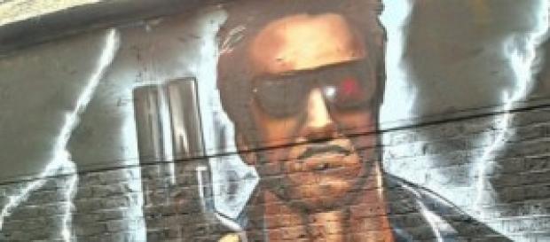 Graffiti con la imagen del villano de la entrega.