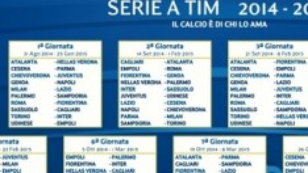 Serie A Calendario Completo.Calendario Serie A Tim 2014 2015 La Date Ufficiali Del