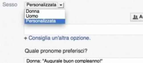 Facebook libera il genere nel sesso del profilo