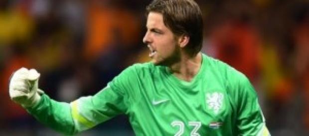 Tim Krul celebrates after saving penalty
