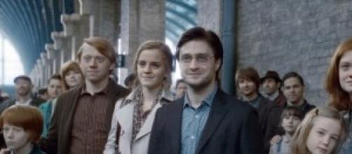 Harry Potter, Hermione y Ron adultos en el epílogo