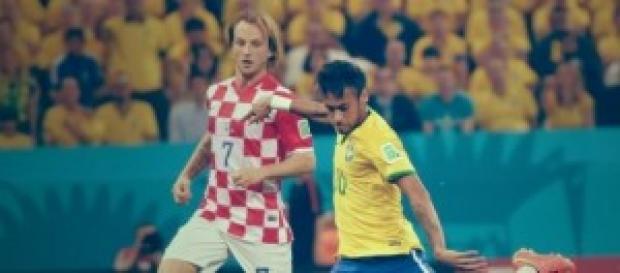 Rakitic y Neymar durante el Mundial de Brasil